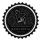 Bangladesh Map Label with Retro Vintage Styled. Bangladesh Map Label with Retro Vintage Styled Design. Hipster Grungy Bangladesh Map Insignia Vector Royalty Free Stock Photos