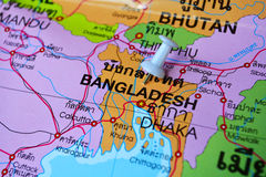 Bangladesh map. Macro shot of bangladesh map with push pin Royalty Free Stock Photography