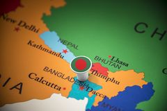 Bangladesh marked with a flag on the map.  stock photography