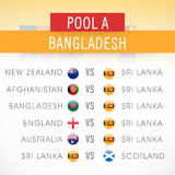 Bangladesh match schedule of World Cup 2015. Stock Photos