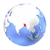 Bangladesh on metallic globe isolated Royalty Free Stock Photo