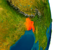 Bangladesh on model of planet Earth. Bangladesh highlighted in red on detailed model of planet Earth. 3D illustration. Elements of this image furnished by NASA stock illustration