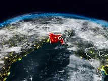 Bangladesh at night. Bangladesh from space at night on Earth with visible country borders. 3D illustration. Elements of this image furnished by NASA stock illustration