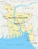 Bangladesh Political Map. With capital Dhaka, national borders, important cities, rivers and lakes. English labeling. Illustration royalty free illustration