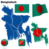 Bangladesh set. Detailed country shape with region borders, flags and icons isolated on white background vector illustration