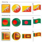 Bangladesh and Sri Lanka, Bhutan Flag Icon Royalty Free Stock Photo