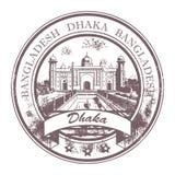 Bangladesh stamp. Grunge rubber stamp with the word Dhaka, Bangladesh inside stock illustration