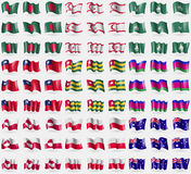 Bangladesh, Turkish Northern Cyprus, Macau, Taiwan, Togo, Kuban Republic, Greenland, Polen, Australia. Big set of 81 flags. Stock Images