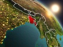 Bangladesh van ruimte tijdens zonsopgang Royalty-vrije Stock Foto