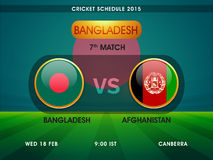 Bangladesh vs Afghanistan, Cricket match schedule 2015. Royalty Free Stock Photo