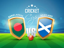 Bangladesh Vs Scotland, World Cup 2015 match concept. Bangladesh Vs Scotland, World Cup 2015 Cricket match concept with winning shield of their countries flags Stock Images