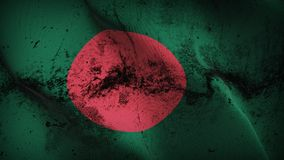 Bangladesh grunge dirty flag waving on wind. Bangladeshi background fullscreen grease flag blowing on wind. Realistic filth fabric texture on windy day Royalty Free Stock Image