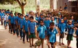 Students standing in a place unique photo. Bangladeshi children standing in a school field isolated unique photo stock photos