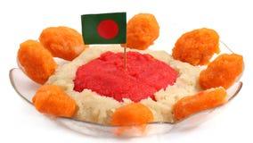 Bangladeshi Cuisine Halua or Halva with national flag Royalty Free Stock Photo