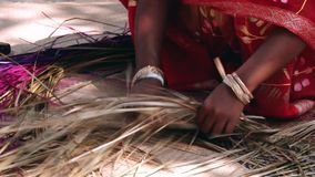Bangladeshi lady wearing traditional dress weaves bamboo bark producing bamboo mat in Tangail, Bangladesh. TANGAIL, BANGLADESH - FEBRUARY 14, 2014: Unidentified stock footage