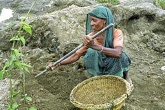 Bangladeshi older women working in gravel quarry Stock Photos