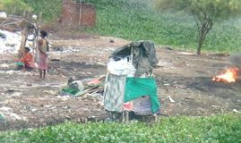 Bangladeshi slums in India. These slums lives from olden time .They lives in tents with daily basis rent Stock Photography