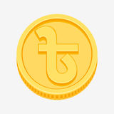 Bangladeshi Taka symbol on gold coin. Bangladeshi Taka currency symbol on gold coin, money sign vector illustration isolated on white background Royalty Free Stock Images