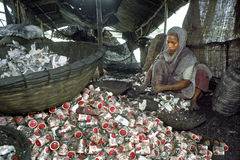Bangladeshi woman engaged in recycling industry Stock Images