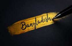 Bangladesz Handwriting tekst na Złotym farby muśnięcia uderzeniu fotografia royalty free