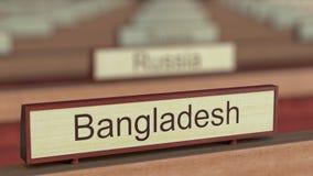Bangladesz imienia znak wśród różnych kraj plakiet przy organizacją międzynarodową royalty ilustracja
