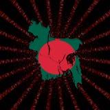 Bangladesz mapy flaga na czerwonej hex kodu wybuchu ilustraci Fotografia Royalty Free