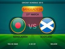 Bangladesz vs Scotland, krykieta dopasowania rozkład 2015 Obraz Royalty Free