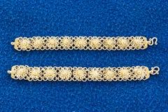 Bangle. Bracelets made from silver stripes sunset Stock Photo