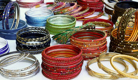 Bangles and bracelets. A collection of colorful Indian bangles and bracelets Stock Photos
