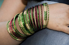Bangles on a girls hand Royalty Free Stock Photos