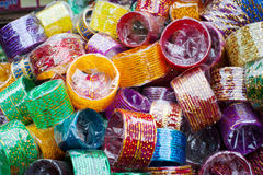 Bangles at Indian market place Royalty Free Stock Photography