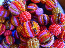 Coloured bangles made of glass beads Stock Image