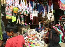Bangles shop in tribal religious fair Royalty Free Stock Image