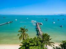 Bangrak bay and beach pier koh samui thailand stock images