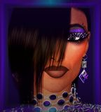 Bangs hairstyle with purple jewelry, makeup and background to accentuate this close up face shot. Stock Image