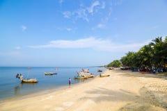 Bangsaen beach with Many fishermen Royalty Free Stock Photography