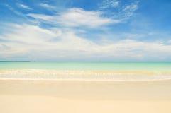 Bangsak beach on blue sky  at khao lak Phangnga province Royalty Free Stock Photo