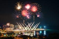 Bangsan plaży odliczanie fajerwerków festiwal Obrazy Royalty Free