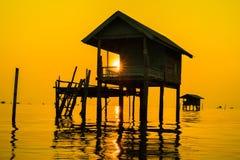 Bangtabun Thailand. Houseboat waterhomecourage Home stock photo