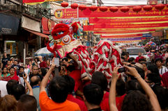 BANGUECOQUE, - 10 DE FEVEREIRO: Ano novo chinês 2013 - celebrações dentro Fotografia de Stock