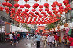 BANGUECOQUE, Chinatown/THAILAND- 10 de fevereiro: Ano novo chinês chinês das tradições do ano novo Imagens de Stock Royalty Free