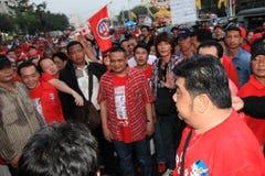 BANGUECOQUE - 10 DE DEZEMBRO: Demonstração vermelha do protesto das camisas - Tailândia Imagens de Stock Royalty Free