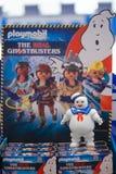 Banguecoque - 12 de janeiro de 2019: Uma foto de um brinquedo do homem do marshmallow dos ghostbusters do playmobil O homem do ma imagens de stock