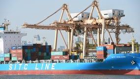 BANGUECOQUE, fevereiro 26,2015: Autoridade portuária de Tailândia imagens de stock