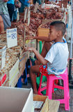 Banguecoque, Tailândia: Alimento tailandês da rua, criança do calamar para a venda foto de stock