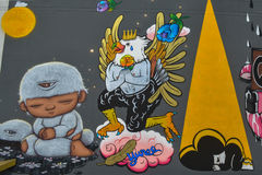 Banguecoque, Tailândia: 29 de janeiro de 2017 na arte de Banguecoque & na arte da parede de centro da cultura no galo chinês do a Fotografia de Stock