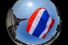 Banguecoque, Tailândia - 18 de janeiro de 2014: Protestadores antigovernamentais tailandeses Foto de Stock Royalty Free