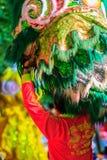 Banguecoque, Tailândia - 29 de janeiro de 2017: Te não identificado da dança de leão Foto de Stock