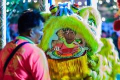 Banguecoque, Tailândia - 29 de janeiro de 2017: Te não identificado da dança de leão Fotografia de Stock Royalty Free