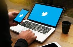 BANGUECOQUE, TAILÂNDIA - 17 DE MAIO DE 2016: Aplicação de Twitter, logotipo o Foto de Stock
